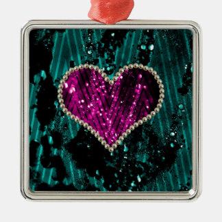 Corazón de la perla adorno navideño cuadrado de metal