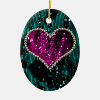 Corazón de la perla adorno navideño ovalado de cerámica