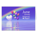 Corazón de la perla del cumpleaños de junio felicitacion