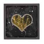 Corazón de la perla del oro caja de joyas de calidad