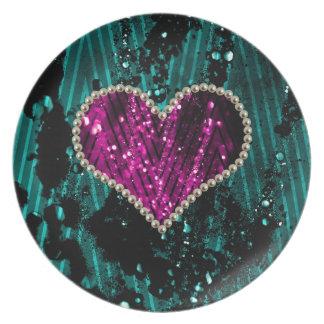 Corazón de la perla plato de cena