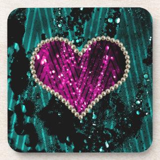 Corazón de la perla posavasos de bebida