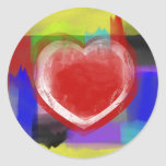 Corazón de la pincelada pegatina redonda