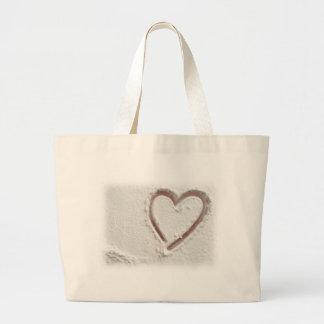 Corazón de la playa de la arena bolsa tela grande