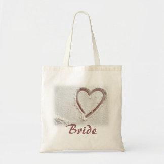 Corazón de la playa de la novia de la arena bolsa tela barata