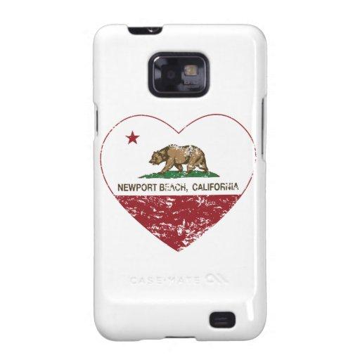 corazón de la playa de Newport de la bandera de Ca Samsung Galaxy S2 Fundas