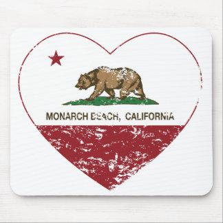 corazón de la playa del monarca de la bandera de C Mouse Pad