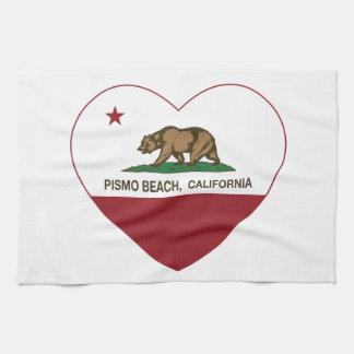 corazón de la playa del pismo de la bandera de Cal Toallas De Cocina