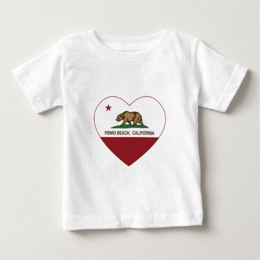 corazón de la playa del pismo de la bandera de tshirts