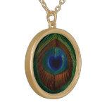 Corazón de la pluma del pavo real del vintage colgante personalizado