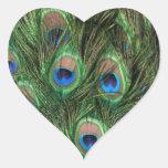 Corazón de la pluma del pavo real pegatina corazon
