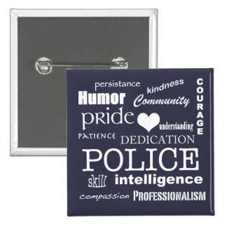 Corazón de la policía/diseño Orgullo-Blancos del Pin Cuadrado