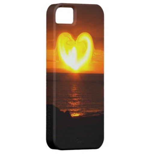 Corazón de la puesta del sol funda para iPhone SE/5/5s