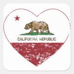 Corazón de la república de California apenado Calcomanía Cuadradas