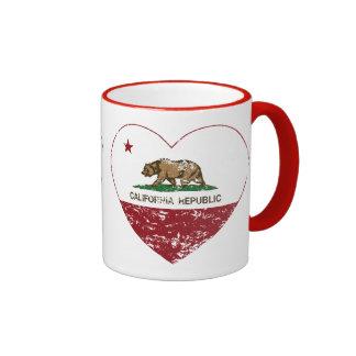 Corazón de la república de California apenado Taza De Dos Colores