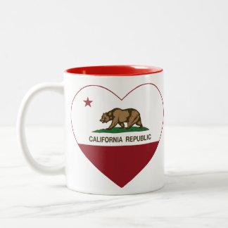 Corazón de la república de California Taza De Dos Tonos
