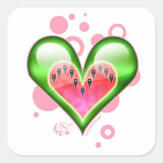Corazón de la sandía pegatina cuadrada