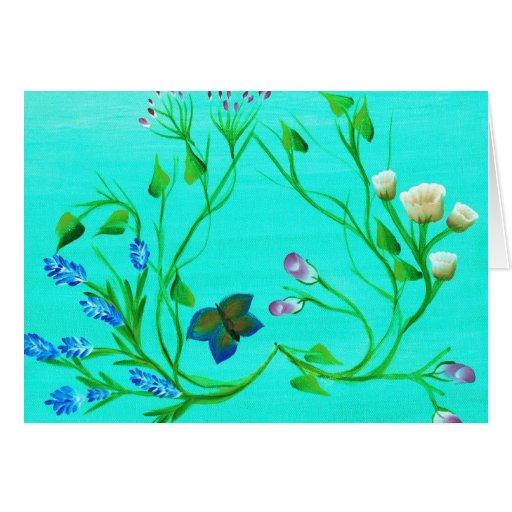 Corazón de la tarjeta de las flores