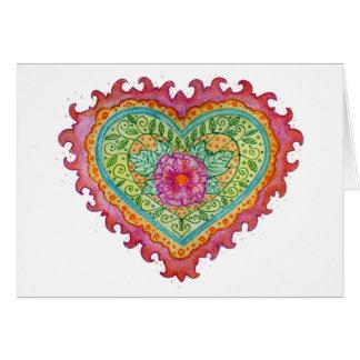 Corazón de la tarjeta de nota de las llamas