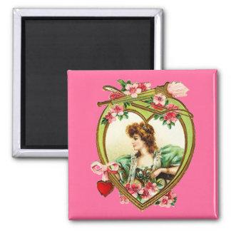 Corazón de la tarjeta del día de San Valentín del  Imán Cuadrado
