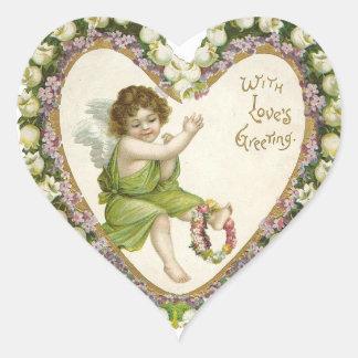 Corazón de la tarjeta del día de San Valentín del Pegatina En Forma De Corazón