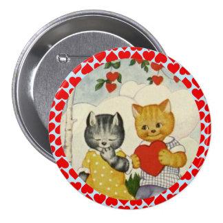 Corazón de la tarjeta del día de San Valentín del Pin Redondo De 3 Pulgadas