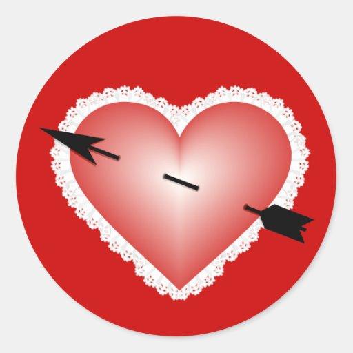 Corazón de la tarjeta del día de San Valentín Etiqueta Redonda