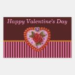 Corazón de la tarjeta del día de San Valentín Pegatina Rectangular