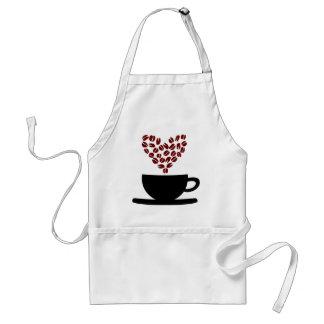 Corazón de la taza de café y del grano de café delantal