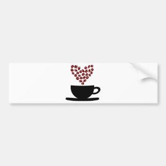 Corazón de la taza de café y del grano de café pegatina para auto