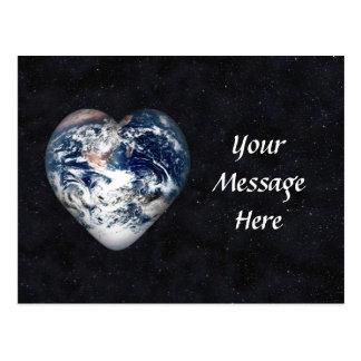 Corazón de la tierra (añada el color de fondo) postales