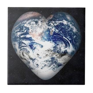 Corazón de la tierra azulejo cuadrado pequeño