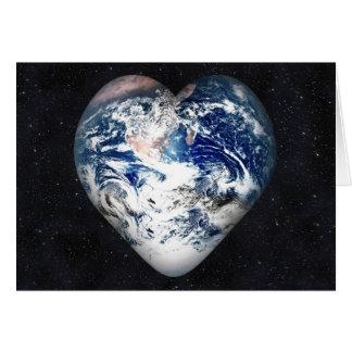 Corazón de la tierra (fondo del universo) tarjeta de felicitación