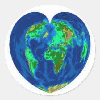 Corazón de la tierra etiquetas redondas