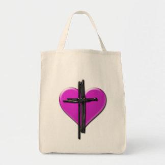 Corazón de la tinta y bolso de la lona de la cruz bolsa de mano