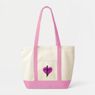 Corazón de la tinta y bolso de la lona de la cruz bolsas de mano