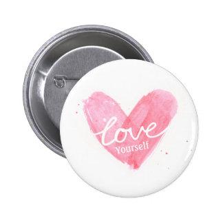 Corazón de la tipografía del amor usted mismo del pin redondo de 2 pulgadas