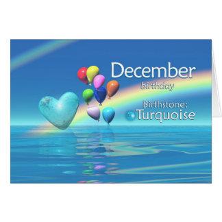 Corazón de la turquesa del cumpleaños de diciembre tarjeta de felicitación