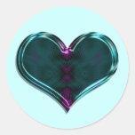 corazón de la turquesa pegatina redonda