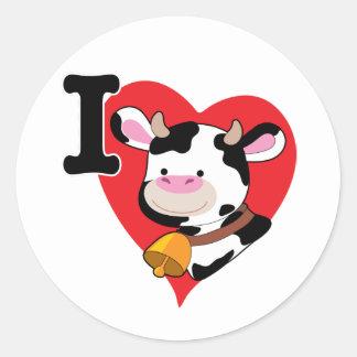 Corazón de la vaca pegatina redonda