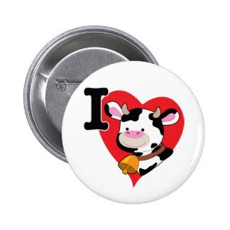 Corazón de la vaca pin redondo de 2 pulgadas