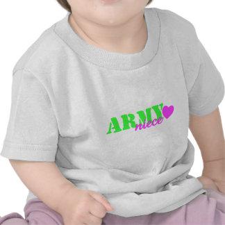 Corazón de la verde lima de la sobrina del ejércit camiseta