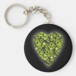 Corazón de la verde lima. Diseño modelado del cora Llavero Personalizado
