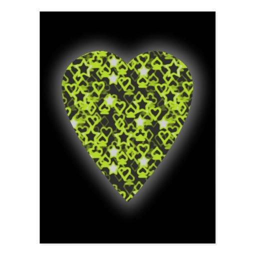 Corazón de la verde lima. Diseño modelado del cora Tarjetas Postales
