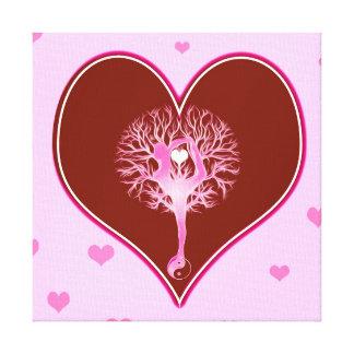 Corazón de la yoga impresión en lona estirada