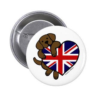 Corazón de Labrador Británicos del chocolate Pin Redondo De 2 Pulgadas