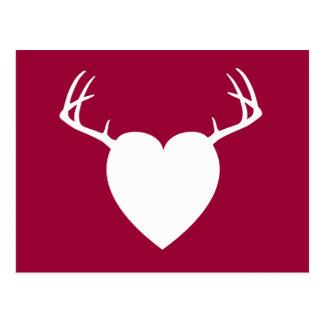 Corazón de las astas de la caza de los ciervos postales