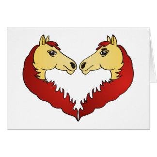Corazón de las cabezas de caballo tarjeta de felicitación