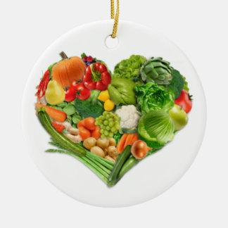 Corazón de las frutas y verduras - vegano adorno navideño redondo de cerámica