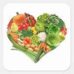 Corazón de las frutas y verduras - vegano pegatina cuadrada